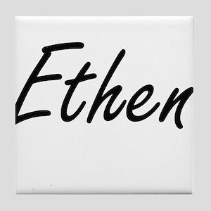 Ethen Artistic Name Design Tile Coaster