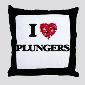 I Love Plungers Throw Pillow
