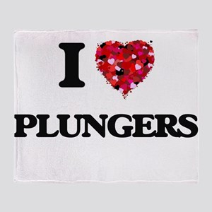 I Love Plungers Throw Blanket