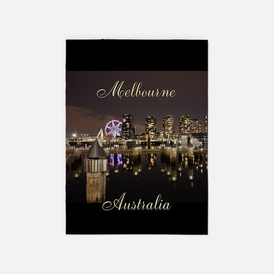 Melbourne Australia Docklands Night 5'x7'Area Rug