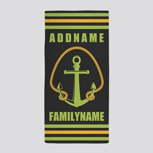 Gray and Yellow Rope and Anchor Person Beach Towel