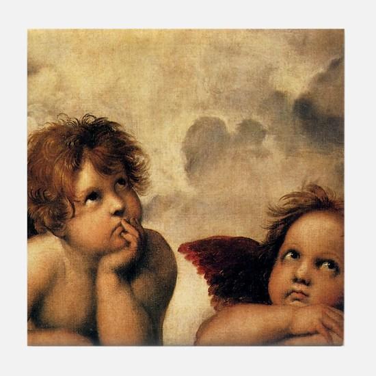 Sistine Madonna Angels by Raphael Tile Coaster