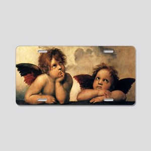Sistine Madonna Angels by R Aluminum License Plate