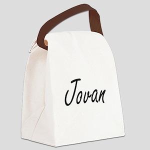 Jovan Artistic Name Design Canvas Lunch Bag