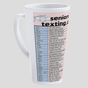 senior texting code 17 oz Latte Mug