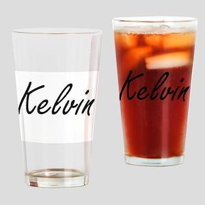 Kelvin Artistic Name Design Drinking Glass