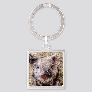 scribbled Piglet Square Keychain