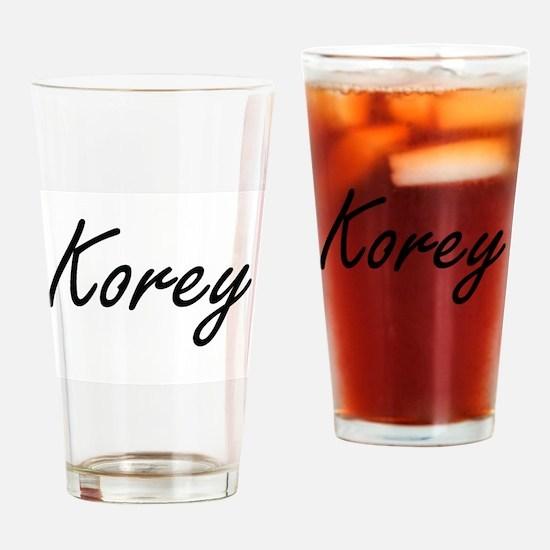 Korey Artistic Name Design Drinking Glass