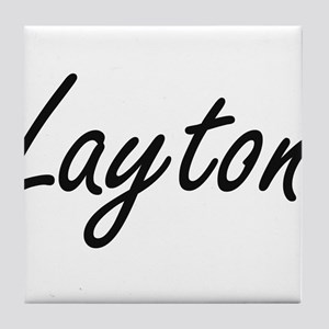 Layton Artistic Name Design Tile Coaster