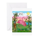 Golfing Flamingo Greeting Cards (Pk of 10)
