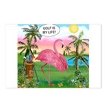Golfing Flamingo Postcards (Package of 8)