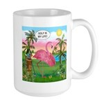 Golfing Flamingo Large Mug
