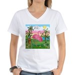 Golfing Flamingo Women's V-Neck T-Shirt