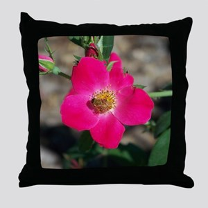 Bee on Pink Rose Throw Pillow