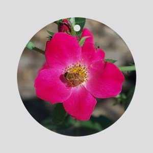 Bee on Pink Rose Round Ornament