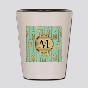 Boho Mint and Faux Gold Arrows Monogram Shot Glass