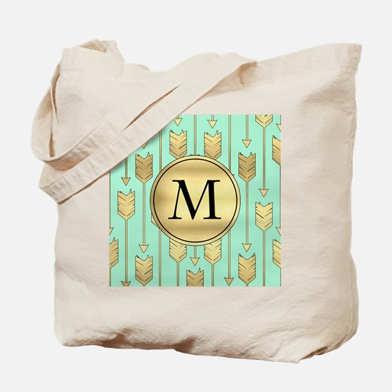 Boho Mint and Faux Gold Arrows Monogram Tote Bag