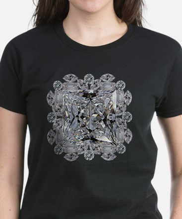 Diamond Gift Brooch Women's Dark T-Shirt