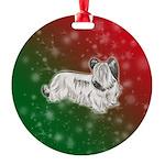 Cream Skye Terrier Round Ornament