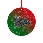 Black Skye Terrier Ornament (round)