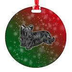 Black Skye Terrier Round Ornament