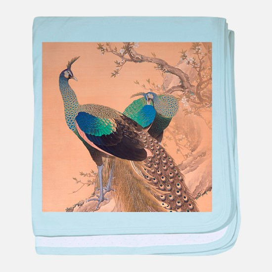 A Pair of Peacocks by Imao Keinen baby blanket
