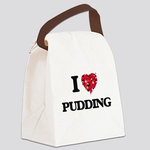 I Love Pudding Canvas Lunch Bag