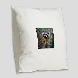 lrg_single_raccoon_clse_up Burlap Throw Pillow
