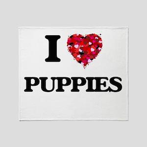 I Love Puppies Throw Blanket