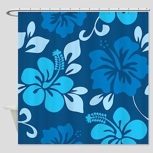 Shades of blue Hawaiian hibiscus Shower Curtain