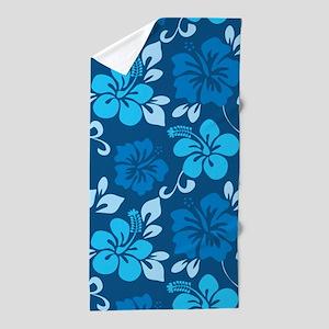 Shades of blue Hawaiian hibiscus Beach Towel