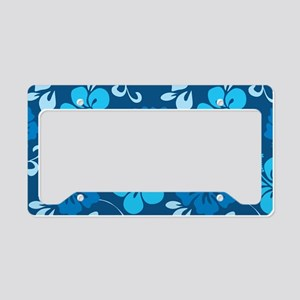 Shades of blue Hawaiian hibis License Plate Holder