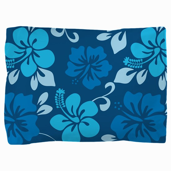 Shades of blue Hawaiian hibiscus Pillow Sham