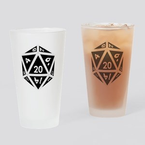 D20 black center Drinking Glass