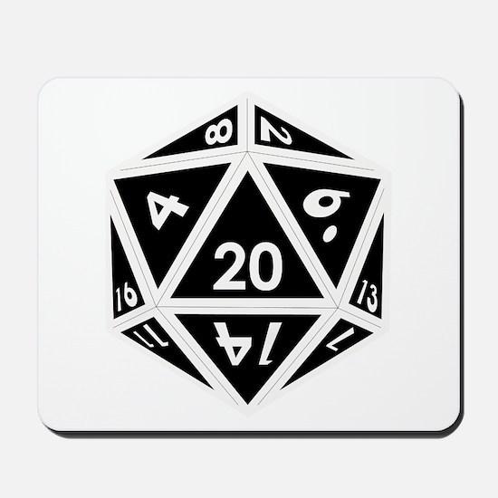 D20 black center Mousepad
