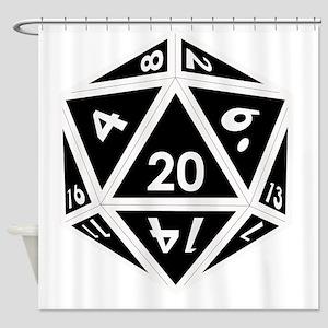 D20 black center Shower Curtain