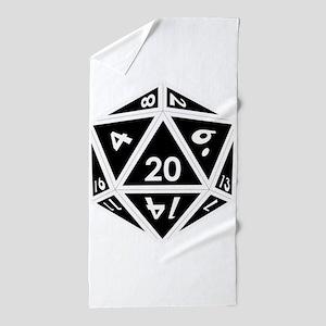 D20 black center Beach Towel