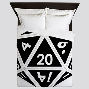 D20 black center Queen Duvet
