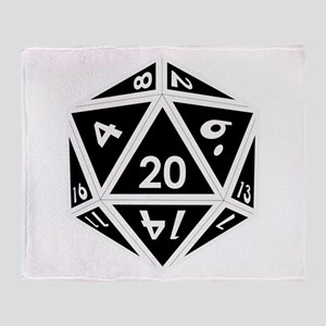 D20 black center Throw Blanket
