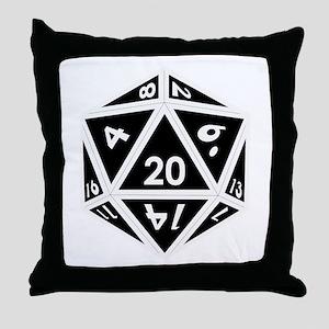 D20 black center Throw Pillow