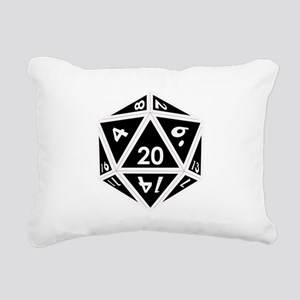 D20 black center Rectangular Canvas Pillow