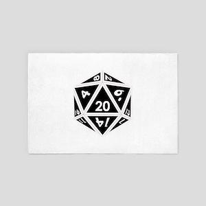 D20 black center 4' x 6' Rug
