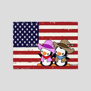 Usa Cowboy Penguins 5'x7'area Rug