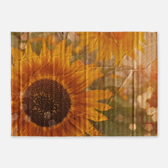 rustic western country sunflower 5'x7'Area Rug