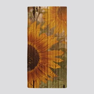 rustic western country sunflower Beach Towel