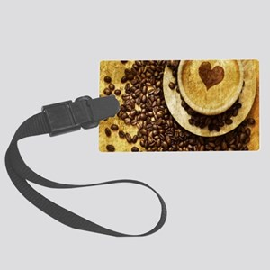 romantic modern coffee Large Luggage Tag