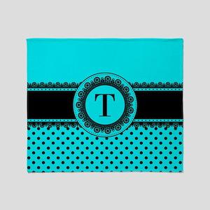 Turquoise Black Polka Dots Throw Blanket