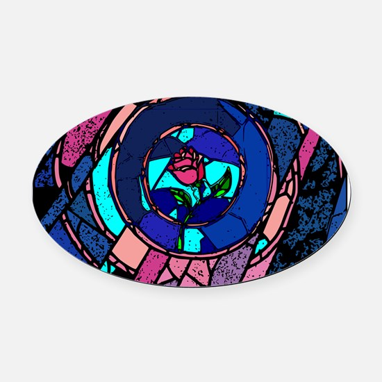 Beauty & the Beast Stained Glass Rose Oval Car Mag