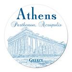 Athens Round Car Magnet