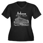 Athens Women's Plus Size V-Neck Dark T-Shirt